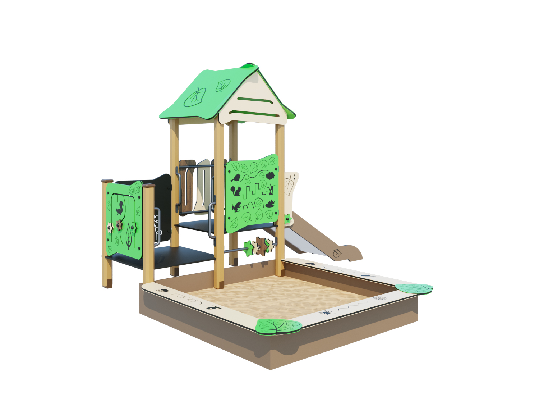 Песочный дворик с горкой ЛС011
