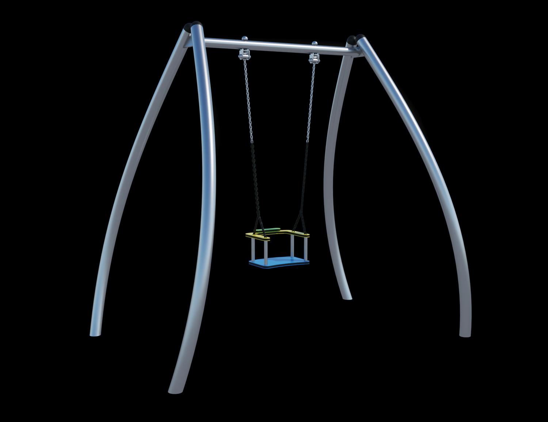 Качели одноместные(с подвесом на цепи из нержавеющей стали с термоусадкой) Ф029